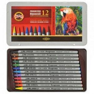 Акварельные цветные карандаши Progresso 12 металлическая упаковка Koh-i-Noor 8782