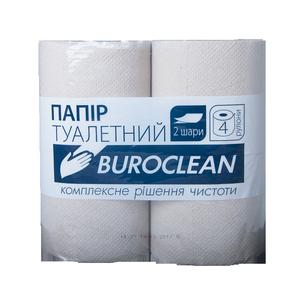 Бумага туалетная серая, 2 слоя, 4 рулона, на гильзе, Buroclean, 10100052
