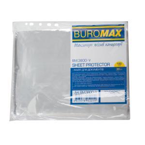 Файл для документов А4 , 30мкм, 100 штук в упаковке BUROMAX BM.3800-y