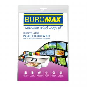 Фотобумага глянцевый, А4, 180 г/м2, 100 листов, BUROMAX BM.2220-4100