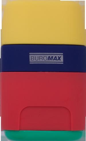 Ластик+точилка большая, 2 отверстия, пластиковый корпус, контейнер BUROMAX BM.4771