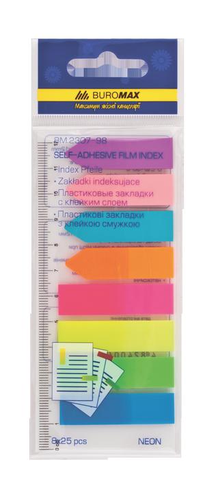 Закладки пластиковые с клейким слоем ассорти НЕОН 45x12 мм Buromax BM.2307-98