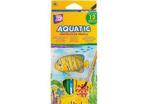 Карандаши цветные акварельные Aquatic Extra Soft 12 цветов с кистью CF15157