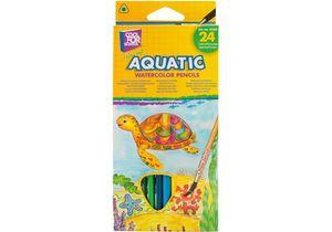Карандаши цветные акварельные Aquatic Extra Soft 24 цвета с кистью CF15158
