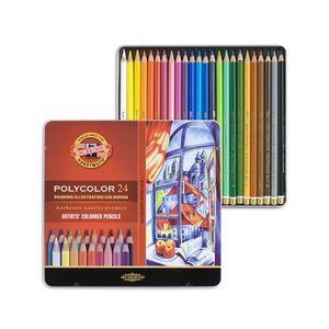 Карандаши цветные художественные POLYCOLOR 24 (металл.коробка) Koh-i-noor 3824024002PL
