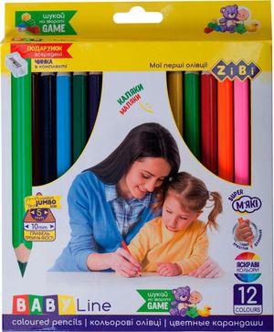 Карандаши цветные mini JUMBO BABY Line с точилкой ZiBi ZB.2452