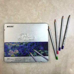 Карандаши Raffine цветные 24 металлический пенал 7100-24NT Marco