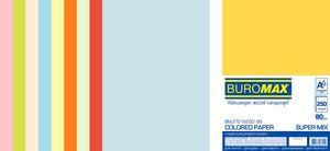 Набор цветной бумаги SUPER MIX, А4, 80г/м2 (10х25/250 листов) BUROMAX BM.27216250-99