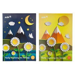 Набор цветной бумаги 7л и цветного картона 7л Kite K17-1256