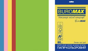 Набор цветной бумаги Euromax А4, 80г/м2, INTENSIVE, 5 цвета, 50 листов, BUROMAX BM.2721350E-99