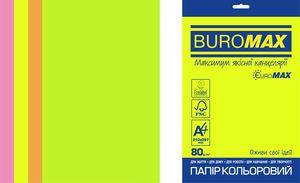 Набор цветной бумаги Euromax А4, 80г/м2, NEON, 4 цветов, 20 листов BUROMAX BM.2721520E-99
