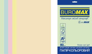 Набор цветной бумаги Euromax А4, 80г/м2, PASTEL, 5 цветов, 50 листов, BUROMAX BM.2721250E-99