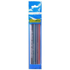 Карандаш графитовый SILVER НВ, с ластиком, трехгранный, ассорти, блистер 4 штуки BUROMAX BM.8510-4