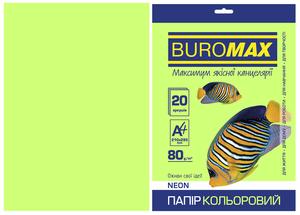 Бумага цветная А4, 80г/м2, NEON, 20 листов, BUROMAX BM.2721520