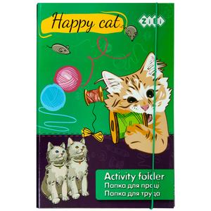 Папка для труда А4+ HAPPY CAT картонная на резинке Zibi ZB17.14909