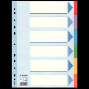 Разделители из цветного картона A4 6 листов Esselte 100192