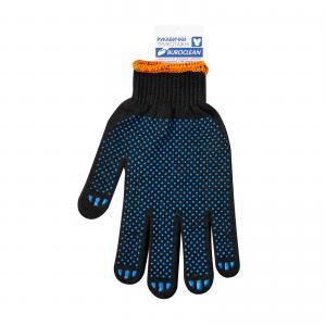 Перчатки черные с ПВХ точкой, 3 нити, BuroClean ECO 10200351