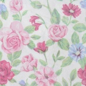 Салфетки 24х24см 3-х слойные 20 штук Розовые цветы Марго 0126200