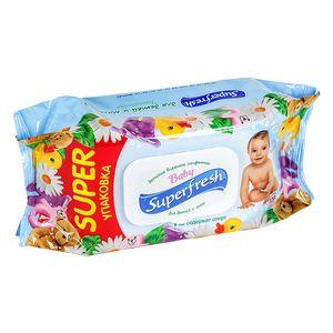 Салфетки влажные для детей и мам Super FRESH 120шт с клапаном -611