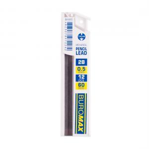 Стержни для механических карандашей, 2B, 0.5 мм, 12 шт. BUROMAX BM.8660