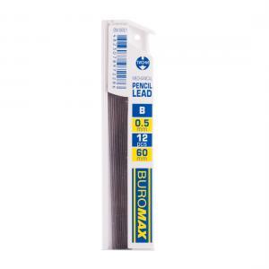 Стержни для механических карандашей, B, 0.5 мм, 12 шт. BUROMAX