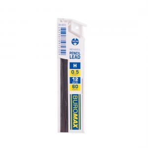 Стержни для механических карандашей, H, 0.5 мм, 12 шт. BUROMAX BM.8662