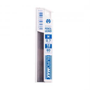 Стержни для механических карандашей, H, 0.7 мм, 12 шт. BUROMAX BM.8665