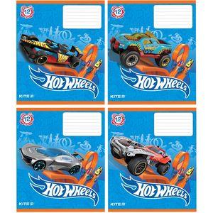Тетрадь школьная Hot Wheels 12 листов клетка Kite HW19-232
