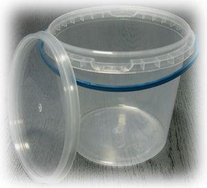 Ведро пластик 1л + крышка с ручкой прозрачное 0175100